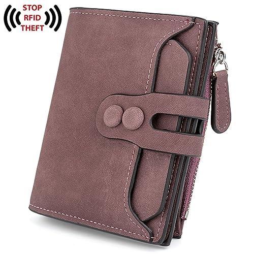 UTO Women's RFID Blocking PU Matte Leather Wallet Card Holder Organizer Girls Small Cute Coin Purse ...