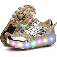 LED Zapatillas con Luces Ruedas Automática Retráctiles Ruedas Ajustables Zapatos de Skate Roller Deportivos Zapatos…