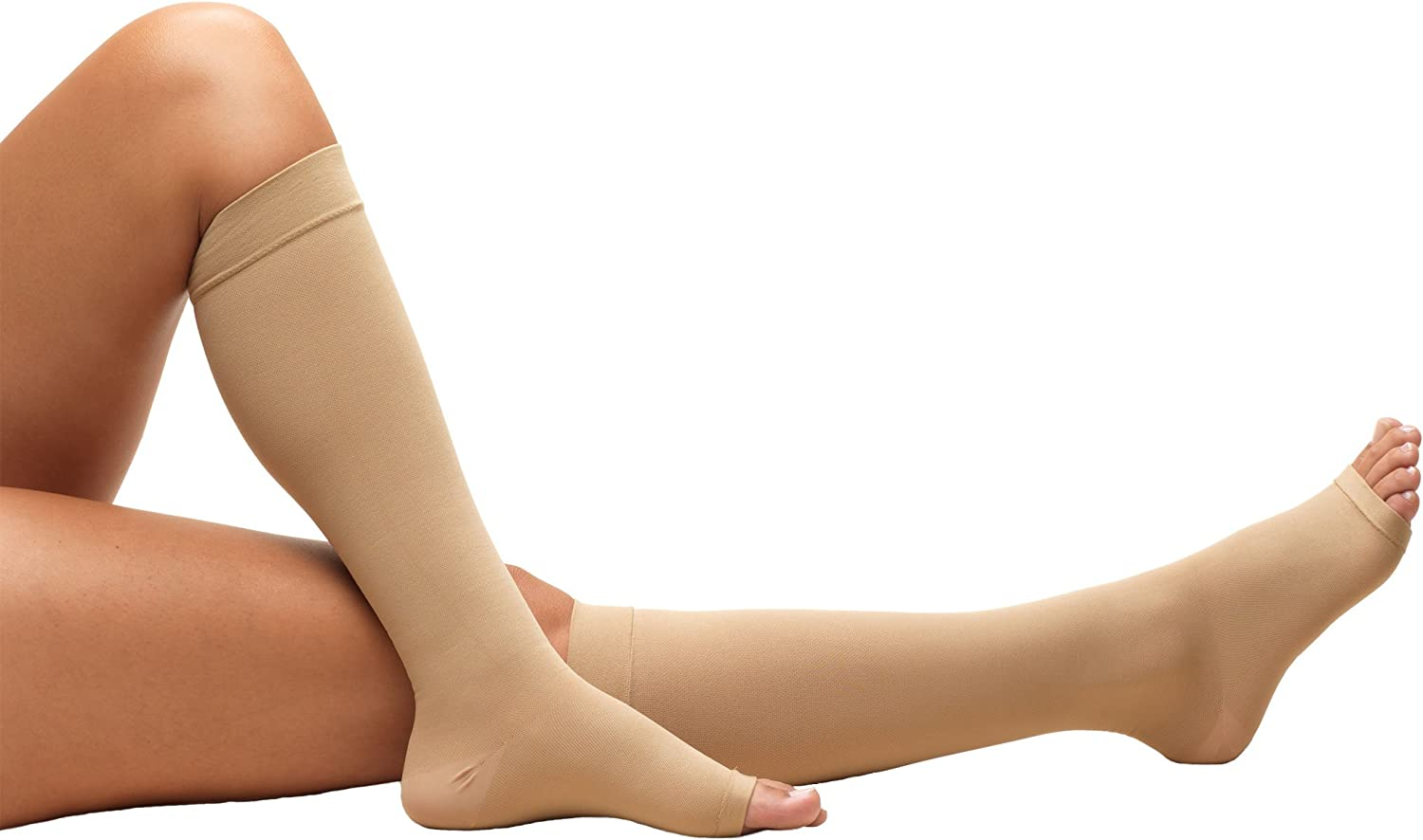 Truform Short Length Surgical Stockings, 18 mmHg Compression for Men and Women, Reduced Length, Open Toe, Beige, Large
