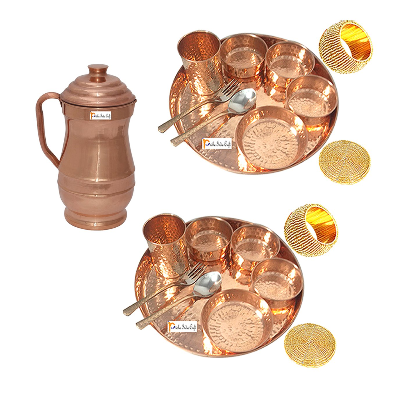 Prisha India Craft Set of 2 Indian Dinnerware Pure Copper Thali Set Traditional Dinner Set of Thali Plate Dia 12'', Bowl, Spoon, Fork, Glass and JUG - Christmas Gift