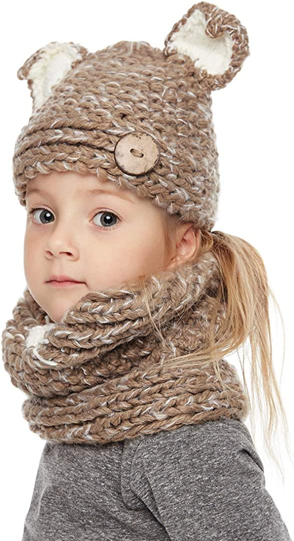 Fox Xinqiao Kids Winter Warm Hat Knitted Fox Animal Hood for 4-8 Years Boys Girls