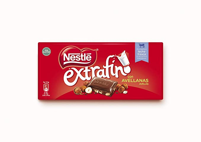 NESTLÉ EXTRAFINO Chocolate con Leche Avellanas - Tableta de Chocolate 123g