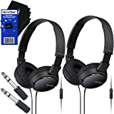 Sony MDRZX110AP ZX Series Extra Bass Smartphone Headset with Mic (Black) + 3.5mm Mini Plug to 1/4 inch Headphone Adapter & HeroFiber® Ultra Gentle Cleaning Cloth (2 pack)