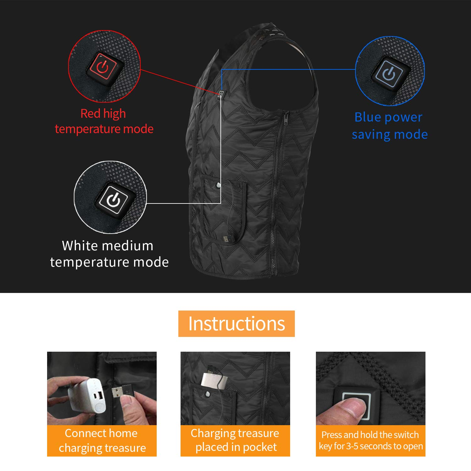 Heating Electric Vest USB Charging Heated Vest Cold-Proof Heating Clothes Washable Four Sizes Adjustment No Battery Pack Included Black by YZFDBSX (Image #4)