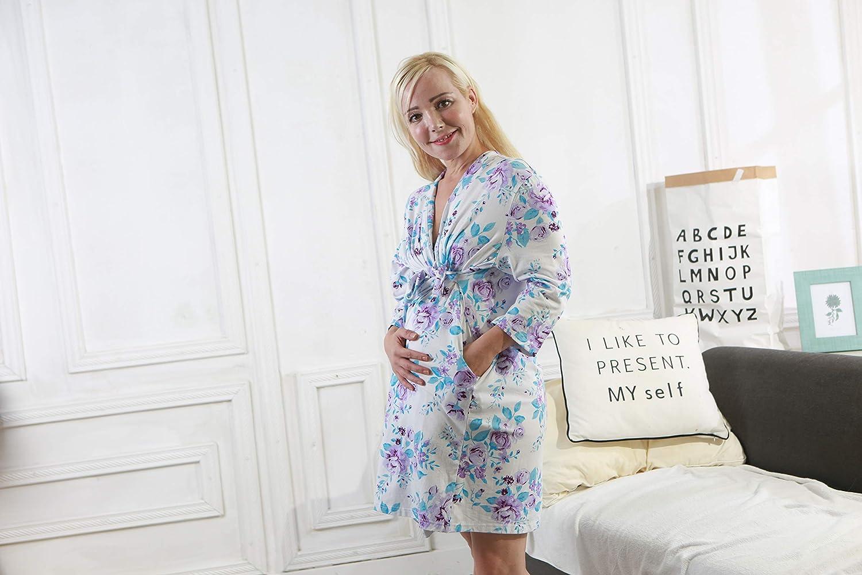 Miracle Baby Camisón de algodón 100%, camisones largos para mujeres con bolsillos, mangas largas, camisones estampados(Blanco,L): Amazon.es: Bebé
