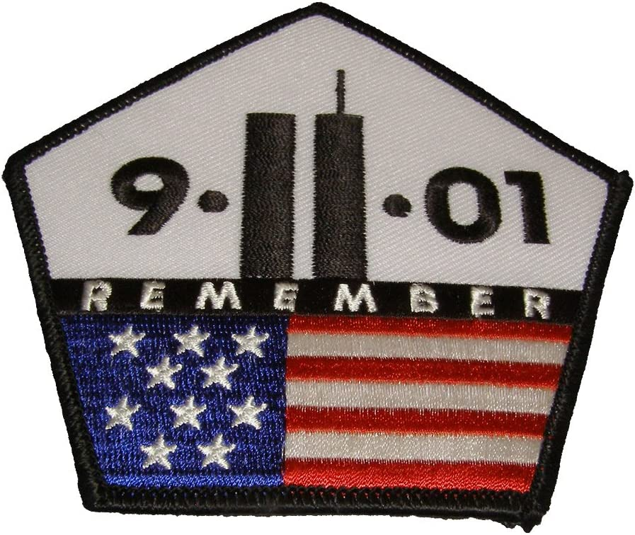 Color Veteran Owned Business. 9.11.01 REMEMBER TWIN TOWER AND PENTAGON WITH USA FLAG 911 PATCH