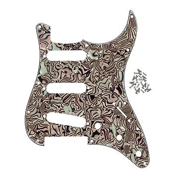 FLEOR 11 agujeros SSS guitarra eléctrica estilo Golpeador con tornillos para América/México moderno Fender Strat estilo guitarra, 4ply Boa rayas: Amazon.es: ...