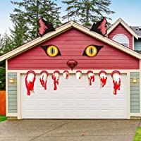 SICOHOME Halloween Monster Face Door Stickers Decorations,Ears,Eyes ans Teeth Cutouts,Outdoor Garage Door Archway Car Party Decor