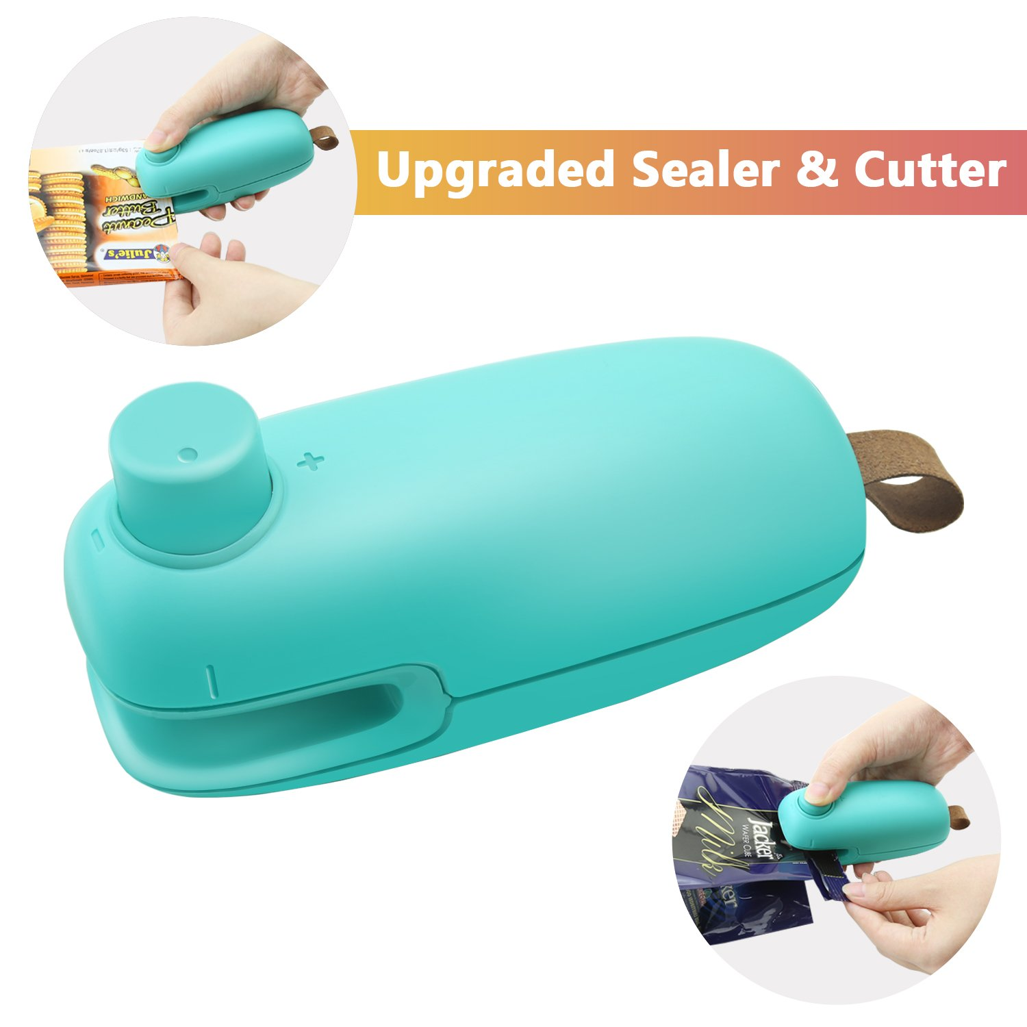Bag Heat Sealer & Cutter, Rytaki Newest Handheld Bags Heat Sealer Cutter Machine for Plastic Food Potato Chip Saver or Fresh Bag, Battery Operated 2-in-1 Mini Portable Sealer (2018 Upgraded Version)