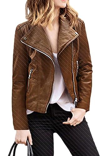 La Mujer Casual Solid Solapa Cremallera Moto Corta Chaqueta Bomber Plus Size