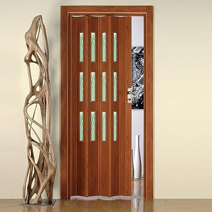 Porta a Soffietto da Interno in PVC con Vetro 88,5x214cm Saba Jasmine  Ciliegio