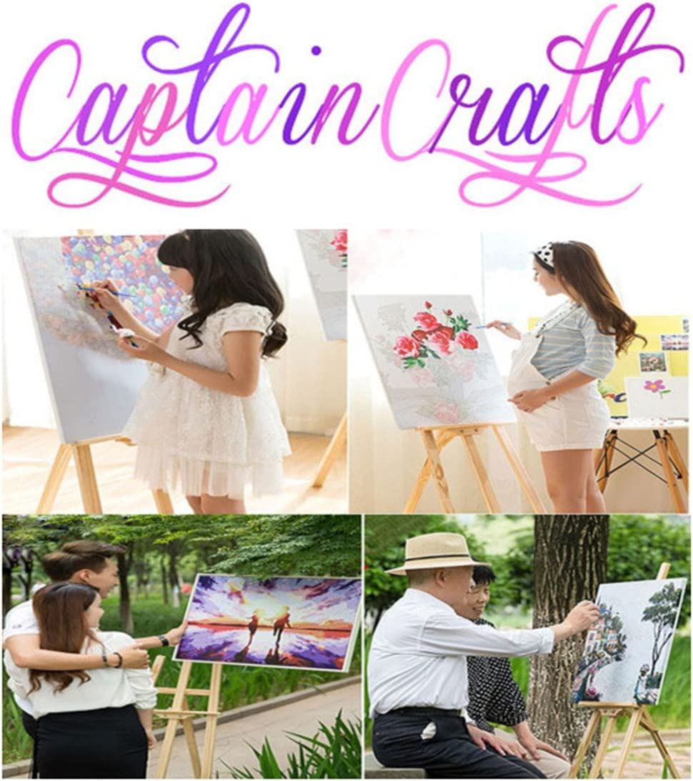 Green Flower Border, Frameless CaptainCrafts New DIY Oil Painting Paint by Numbers 16x20 inch for Adults Beginner Kids Owl Mother Loves The Guardian Linen Canvas Brush Acrylic Paint Kits Gift