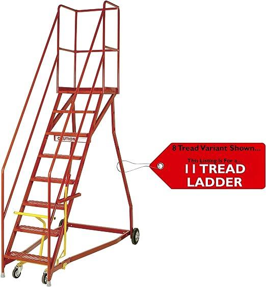 Loops Escaleras móviles de almacén de 11 peldaños Premium Extra Resistentes – Escalera de Seguridad portátil de 3,5 m y Ruedas – Altura de Plataforma de 2,5 3 m – Pasamanos y barandilla Segura: Amazon.es: Hogar