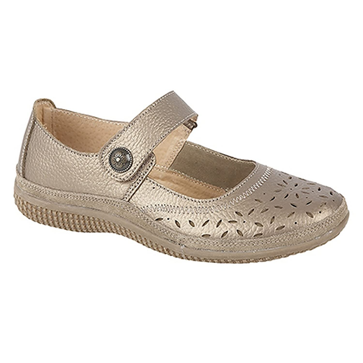 Boulevard Womens//Ladies Wide Fitting Touch Fastening Perforated Bar Shoes