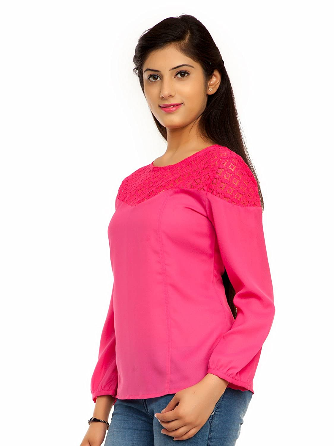 250591ccba2658 Femninora Women's Pink Color Lace Top: Amazon.in: Clothing & Accessories
