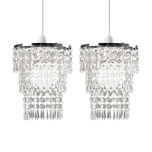 Pair of modern chrome chandelier pendant shades with clear pair of modern chrome chandelier pendant shades with clear acrylic jewel droplets aloadofball Image collections