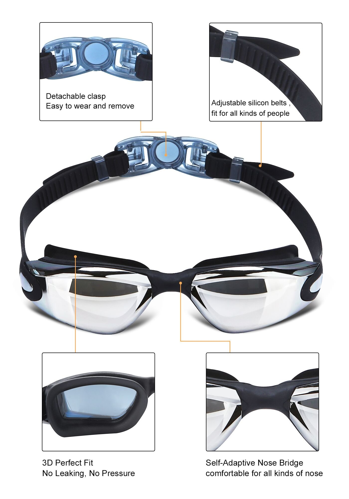 BRIGADA Swimming Goggles Men Women Cool Swimming Goggles Swim Goggle Anti Fog for Adults,Youths - Black