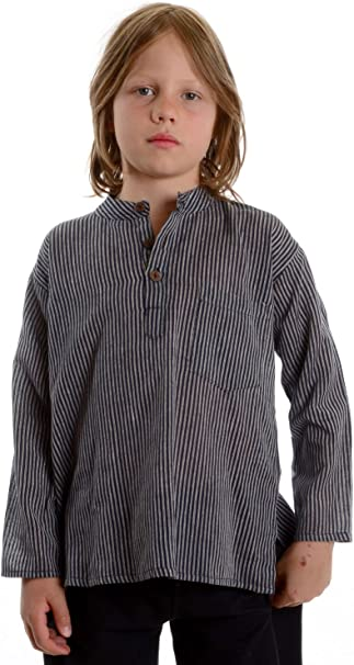 HEMAD/Billy Held - Camisa - Rayas - cuello mao - Manga Larga - para niño: Amazon.es: Ropa y accesorios