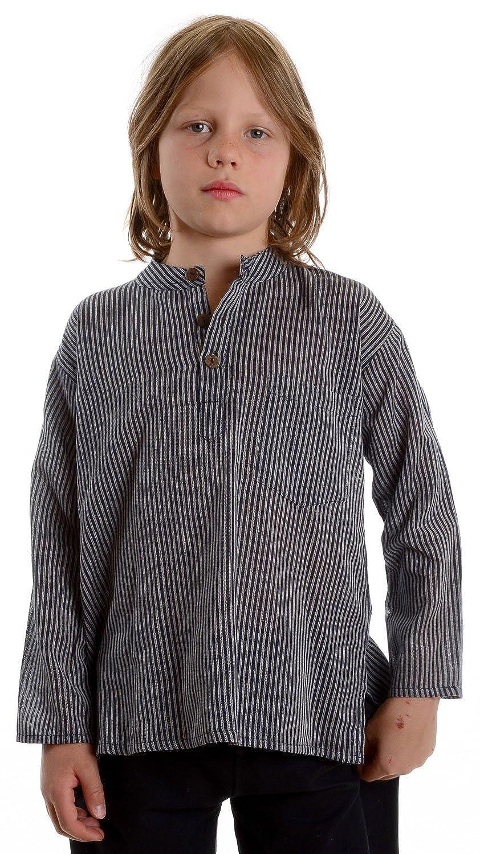 e7138a9a6d HEMAD Billy Held - Camisa - Rayas - Cuello Mao - Manga Larga - para niño   Amazon.es  Ropa y accesorios