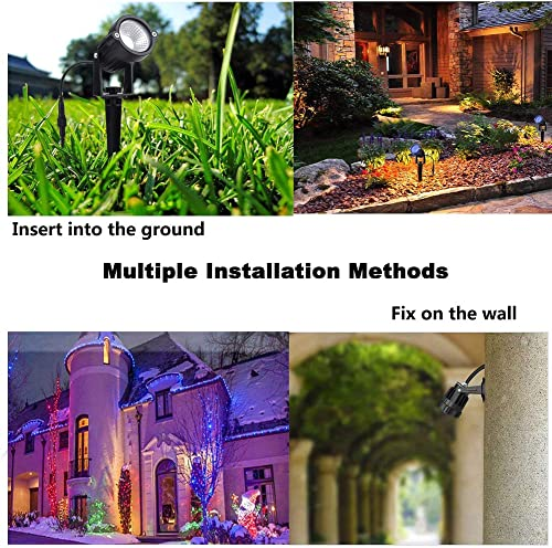 VivaColor Waterproof RGB Color Changing Landscape Lights Bluetooth APP Control, 12 Watts X 8, Extra Long Power Cord, Built-in Timer, Programming, Music Sync 2 Pack w Trans Cover and Extensions