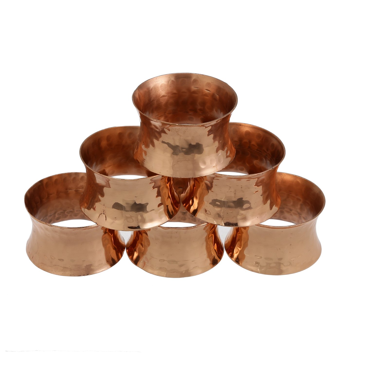 ShalinIndia Copper Napkin Rings Hammered Weddings,Dinners, Parties Everyday Use, Set of 6,Light Weight 35 Grams,Diameter-2 Inch Shalincraft MN-copper-NR-104-S6