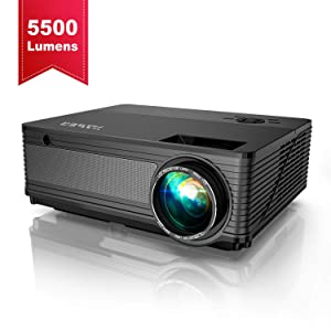 Projector, YABER Native 1080P LED Projector 5500 Lux Full HD Video Projector (1920 x 1080) Support 4k and Zoom, Home & Outdoor Projector Compatible with TV Stick,HDMI,VGA,USB, iPhone,Android,PC,Xbox