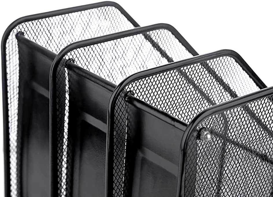 Magazine Rack with 2//3 Compartments Metal Mesh Magazine Holder A4 Filing Module Storage Box for Files//Notebooks Office Folder for Office Home Bookcase 3 compartiments Black