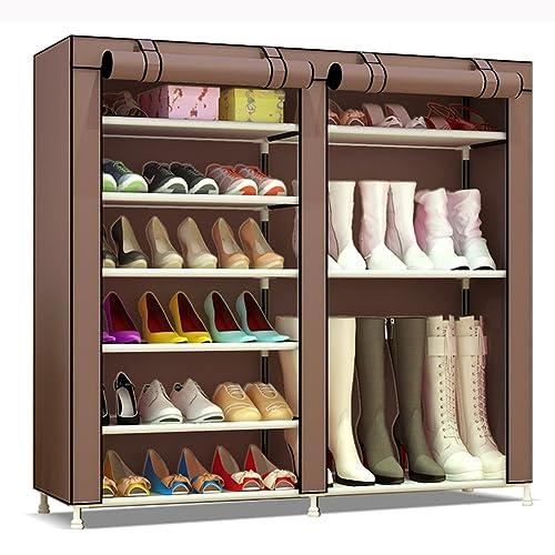 UDEAR 7 Tier Shoe Rack 27 Pair Shoe Storage Organizer Boots Style  Brown120*30 *