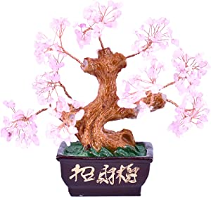 LHR trading inc Feng Shui Natural Rose Quartz Crystal Money Tree