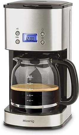 H.Koenig Cafetera de Goteo Programable, 12 Tazas, 1.5 Litro, 1000 W, Jarra de Vidrio, Gris, Acero Inoxidable MG30, 1.8 Liters: Amazon.es: Hogar