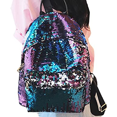 Orfila Women Dazzling Sequin Backpack Purse Fashion Leather Glitter Shoulder Bag Casual Daypack School Bag Travel