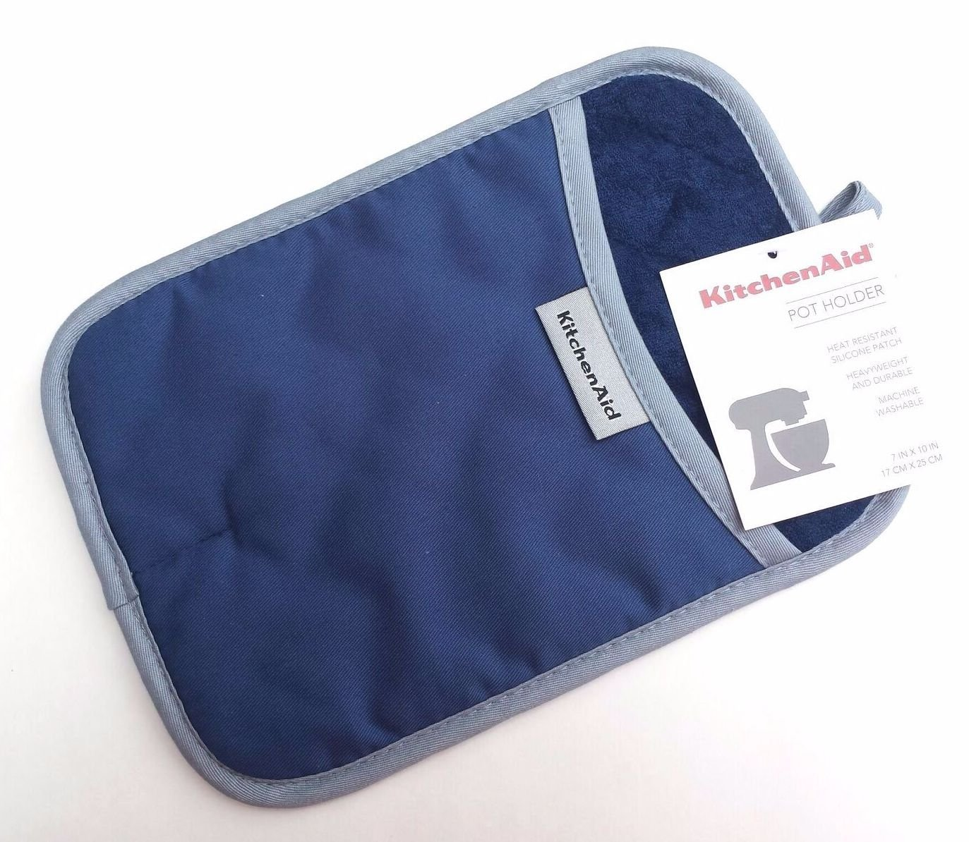 KitchenAid Cotton Pot Holder, Microfiber Lined, Printed Grid Silicone Grips (Blue Willow) by KitchenAid