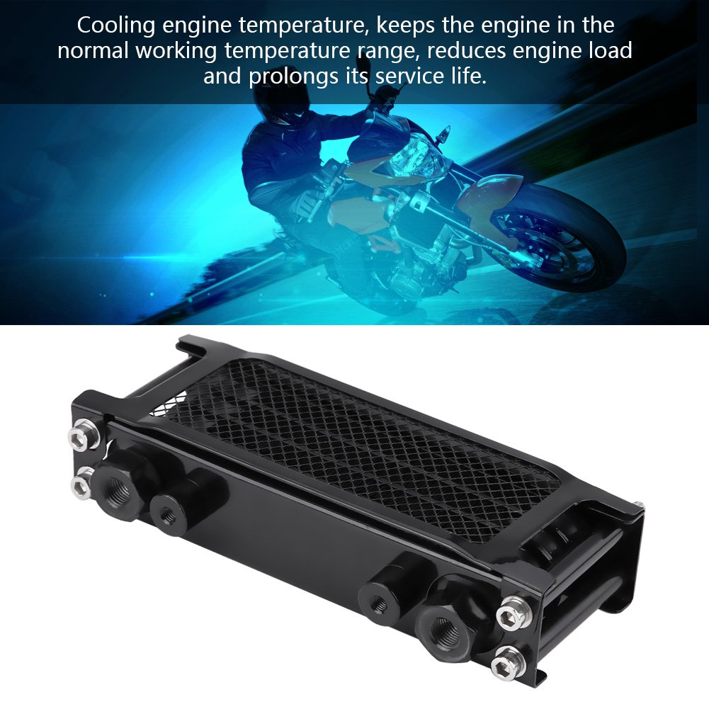 Black Cuque Universal Motorcycle 80ml Engine Oil Cooler Cooling Radiator for Motorbike Dirt Bike for 50cc to 125cc 140cc 150cc 200cc Horizontal Engine
