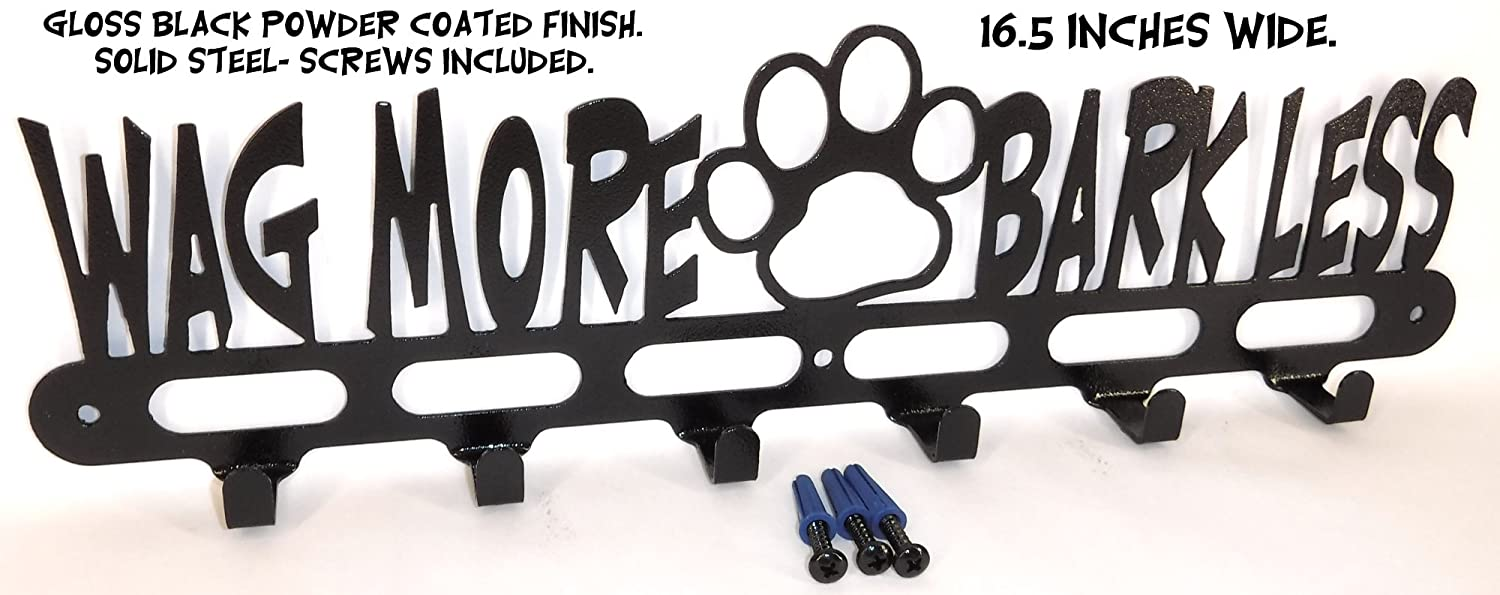 Dog Leash Hook. Hanger. Holder. Wag More-Bark Less. Handmade in USA. 16.5 inch wide. Gloss Black.