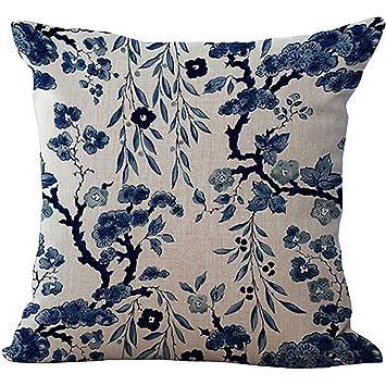 Amazon.com: chezmax Azul y Blanco Porcelana silla cojín ...