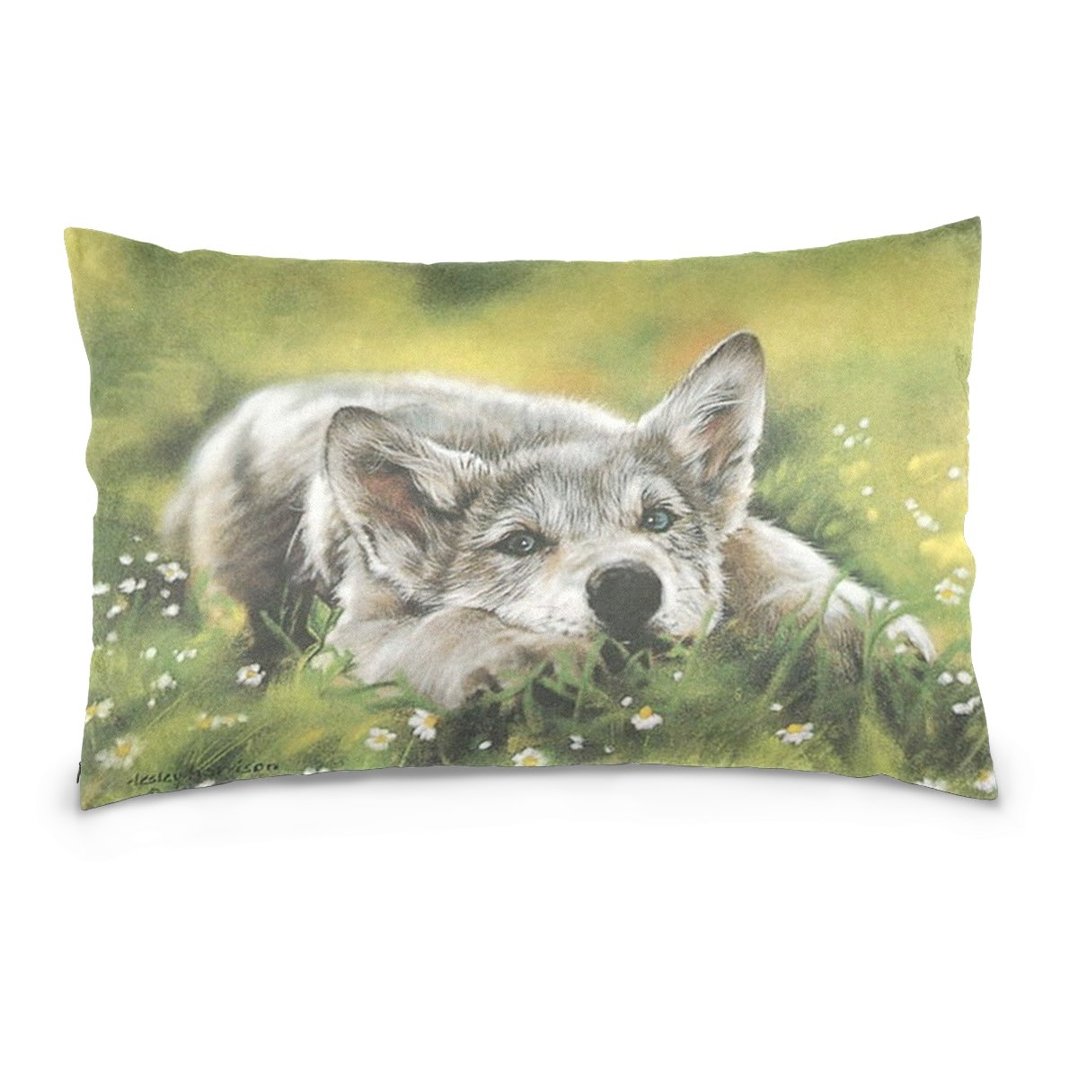 Pillow Covers Pillow Protectors Bed Bug Dust Mite Resistant Standard Pillow Cases Cotton Sateen Allergy Proof Soft Quality Covers with Watercolor Animales Wolf Pattern for Bedding