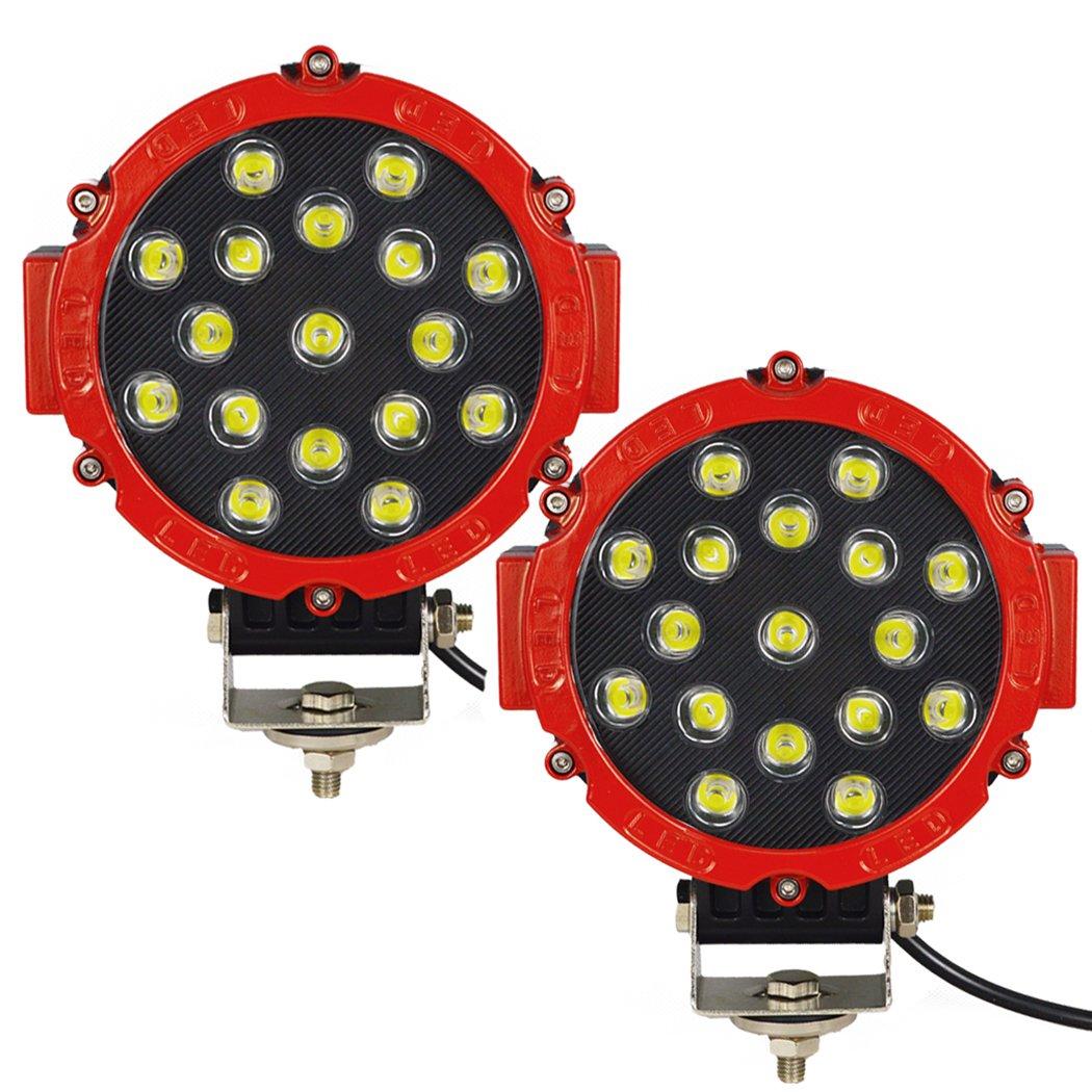 Auxtings 17, 8 cm pollici 2 pezzi 51 W spot LED light bar OFF-ROAD luci di guida lavoro luce per auto Truck pickup SUV utv (rosso) yiyuan metals