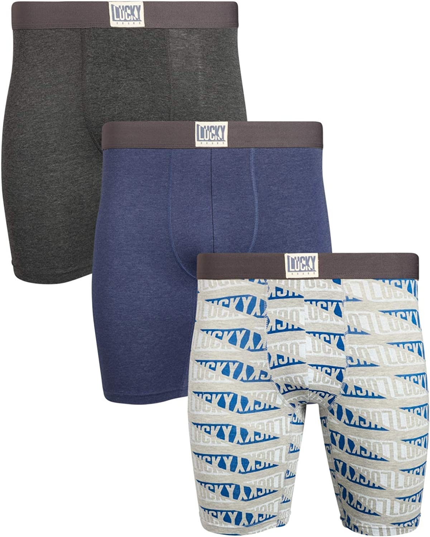 Lucky Brand Mens Cotton Stretch Long Leg Boxer Briefs Underwear (3 Pack)