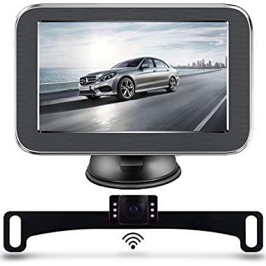 LASTBUS Wireless Backup Camera System, Anti-Theft Rear View 5 Inch Monitor and Waterproof Night Vision Reversing Camera for Cars, Vans, Trucks, SUVs, RVs, Pickups