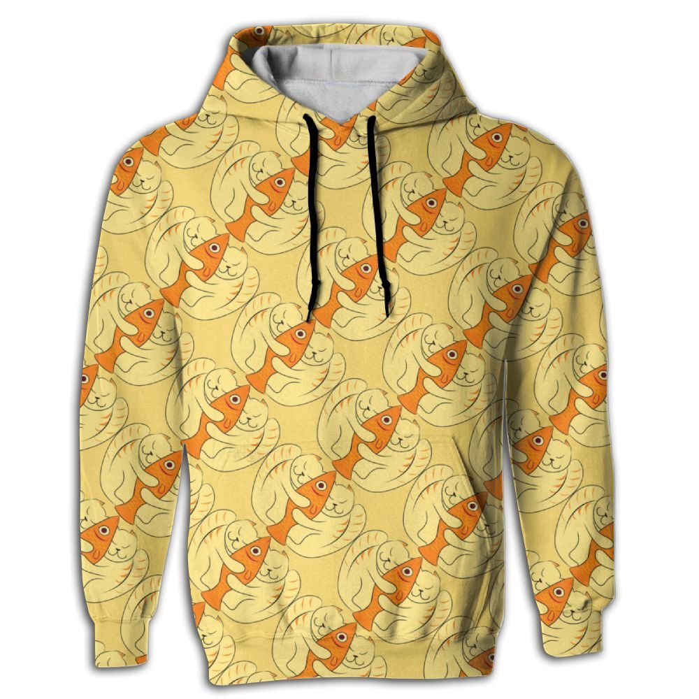 MCPWY Cats Hug Fish Mens Sleeve Hoodie Personalized Mens Hoodies