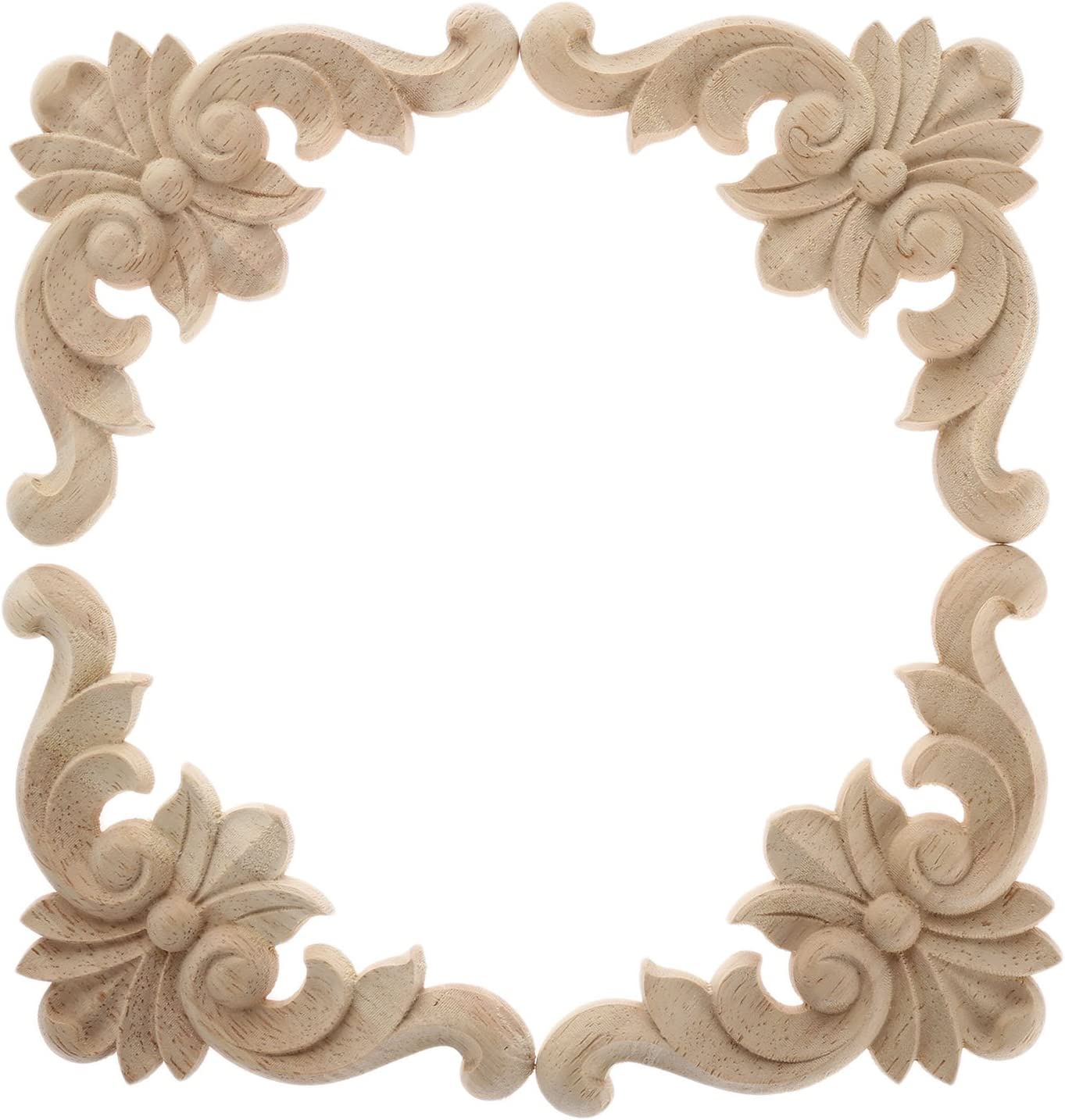 4PCS Wood Applique Rubber Wood Carved Corner Onlay Appliques Furniture Onlay Door Wall Cabinet Frame Decor Flower Shape Unpainted Decoration (6x6cm/2.36