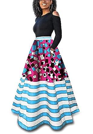 Shele Womens African Print Dashiki Dress Long Maxi A Line Striped