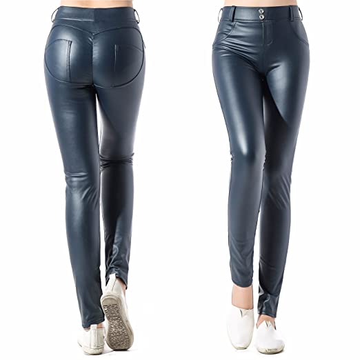 8dcf23adec8eb CFR Women's Sexy Faux Leather Leggings High Waist Stretch Jeggings Slim  Look Tight Pants #2