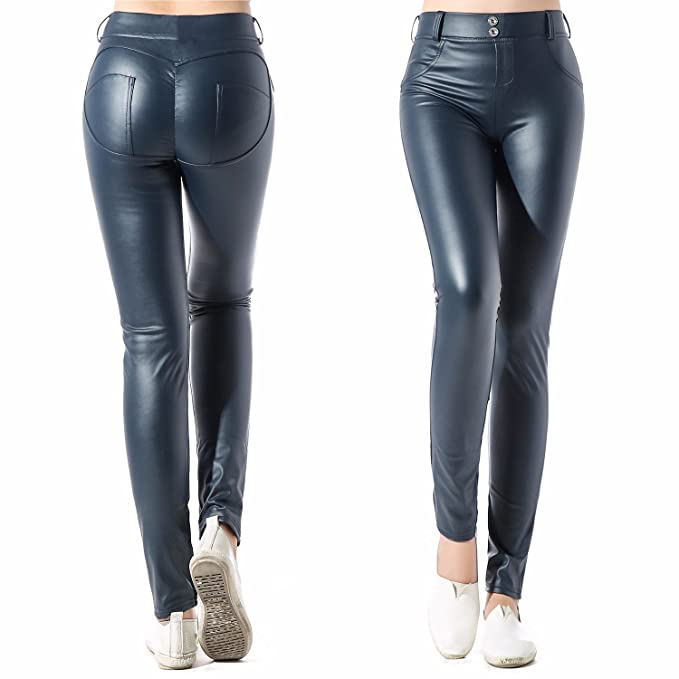 8329e9786aa88 CFR Lady Women's Fashion Faux Leather Jeggings High Waist Leggings Pants #2  Dark Blue,