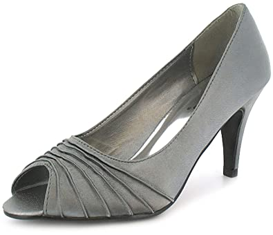 cb9abce957a New Ladies Womens Dark Silver Satin Peep Toe Shoes On A Mid Size Heel -