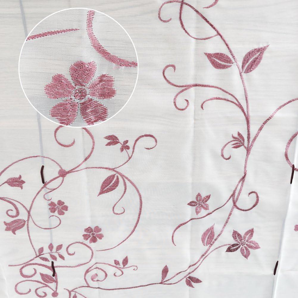 Violet, 100x140cm KOU-DECO Store Romain 1Pc Rideau Voilage Raffrollo avec Broderie Fleur D/écoration pour Chambre et Salon