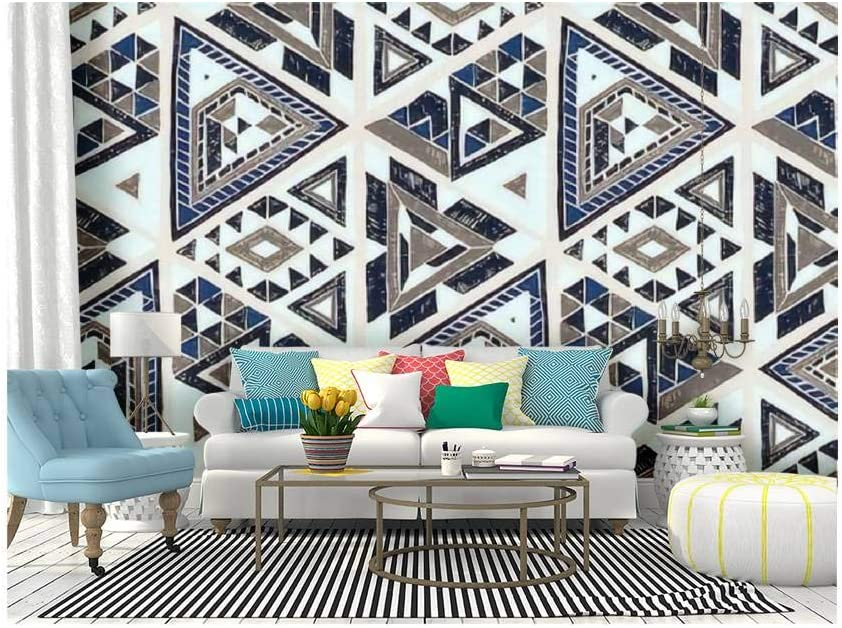 Amazon Com Self Adhesive Wallpaper Roll Paper Indian Geometric Folklore Ornament With Triangle Tribal Ethnic Removable Peel And Stick Wallpaper Decorative Wall Mural Posters Home Covering Interior Film Kitchen Dining