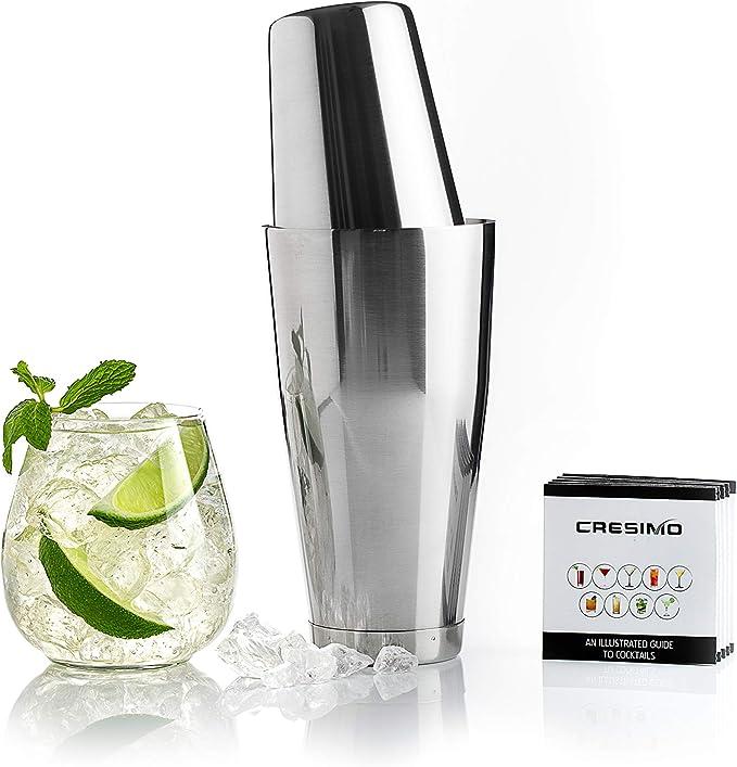 Cresimo Boston Shaker - Juego de coctelera de coctelera profesional sin peso y 793 ml