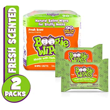 Boogie Wipes Soft Natural Saline Wet Tissues for Baby and Kids Sensitive Nose,