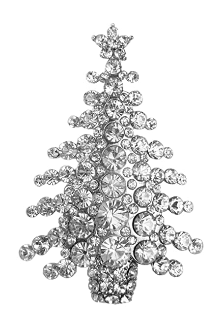 bejeweled christmas large clear rhinestone tree pin brooch 468